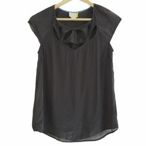 Anthropologie Maeve cut out blouse black size 2